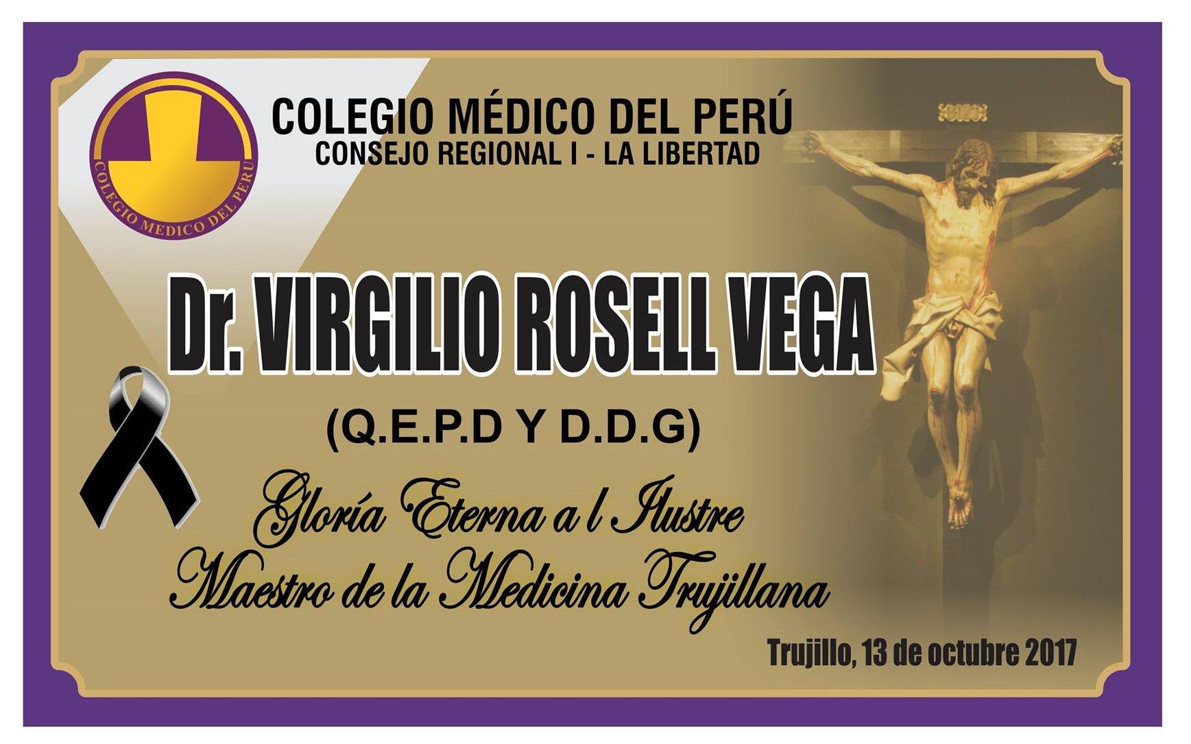 DEFUNCIÓN: Dr. VIRGILIO ROSELL VEGA